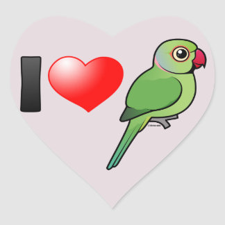 I Love Rose-ringed Parakeets Heart Sticker