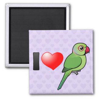 I Love Rose-ringed Parakeets 2 Inch Square Magnet
