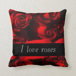 """""""I Love Roses"""" - Crimson Roses/Blk Stripe [b] Throw Pillow"""