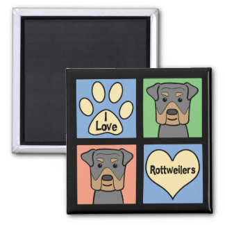 I Love Rottweilers 2 Inch Square Magnet