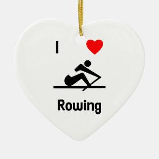 I Love Rowing (2) Ceramic Ornament