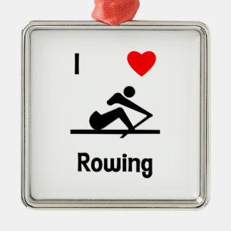 I Love Rowing (2) Metal Ornament