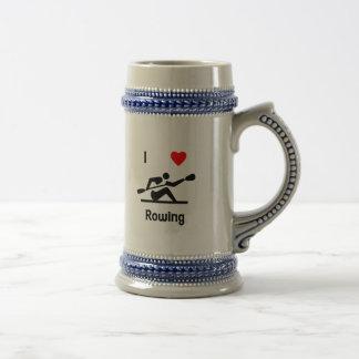 I Love Rowing Beer Stein