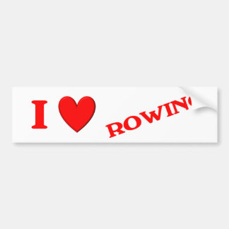 I Love Rowing Bumper Sticker