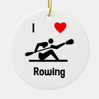 I Love Rowing Ceramic Ornament