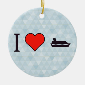 I Love Rowing Double-Sided Ceramic Round Christmas Ornament