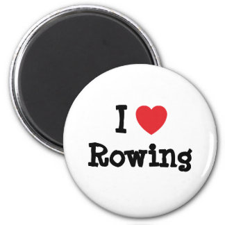 I love Rowing heart custom personalized 2 Inch Round Magnet
