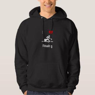 I Love Rowing Hooded Sweatshirt