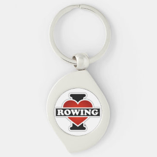 I Love Rowing Silver-Colored Swirl Metal Keychain