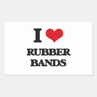 I Love Rubber Bands Rectangular Sticker