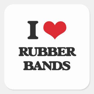 I Love Rubber Bands Square Sticker