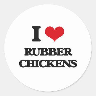 I Love Rubber Chickens Classic Round Sticker