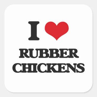 I Love Rubber Chickens Square Sticker