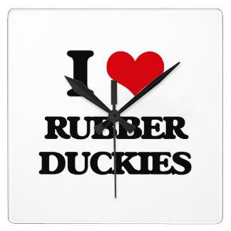 I love Rubber Duckies Square Wallclock