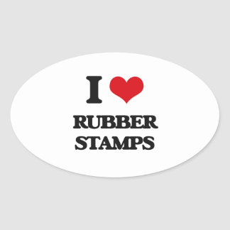 I Love Rubber Stamps Oval Sticker