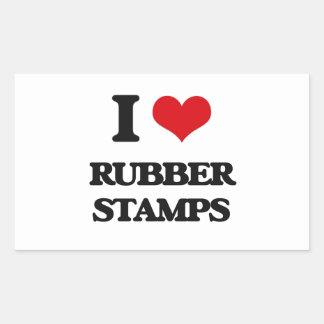 I Love Rubber Stamps Rectangular Sticker