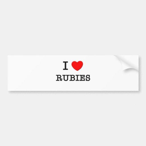 I Love Rubies Car Bumper Sticker