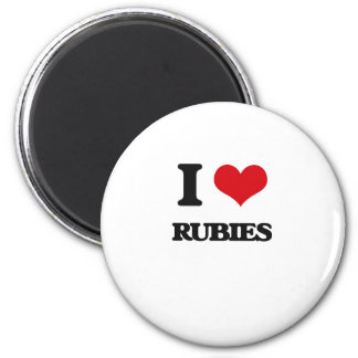I Love Rubies 2 Inch Round Magnet