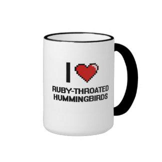 I love Ruby-Throated Hummingbirds Digital Design Ringer Coffee Mug