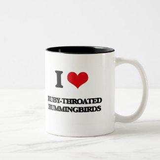 I love Ruby-Throated Hummingbirds Two-Tone Coffee Mug