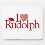 I Love Rudolph Mouse Pads