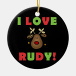 I Love Rudy Christmas Keepsake Ornament Round Ceramic Ornament