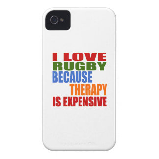 I LOVE RUGBY  BECAUSE THERAPY IS EXPENSIVE iPhone 4 Case-Mate CASE