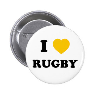 I Love Rugby Pinback Buttons