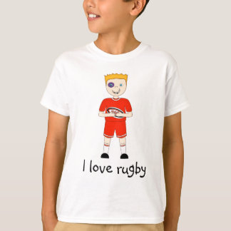 I Love Rugby Cartoon Character in Red Kit T-Shirt