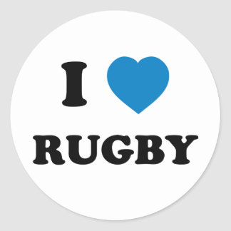 I Love Rugby Classic Round Sticker