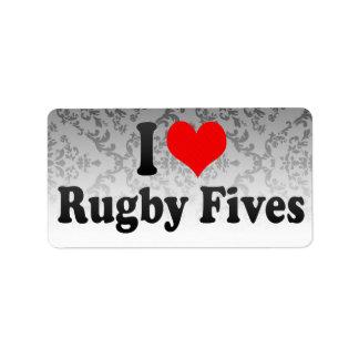I love Rugby Fives Address Label