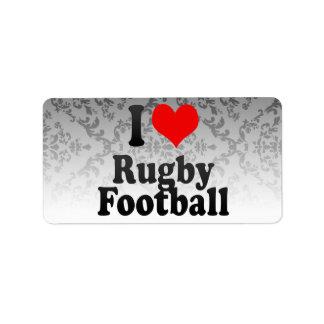 I love Rugby Football Custom Address Labels