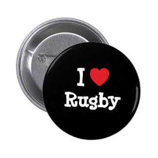 I love Rugby heart custom personalized 2 Inch Round Button