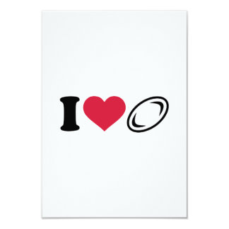 I love Rugby 3.5x5 Paper Invitation Card