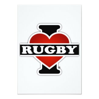 I Love Rugby 5x7 Paper Invitation Card