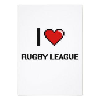 I Love Rugby League Digital Retro Design 5x7 Paper Invitation Card