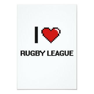 I Love Rugby League Digital Retro Design 3.5x5 Paper Invitation Card