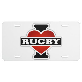 I Love Rugby License Plate