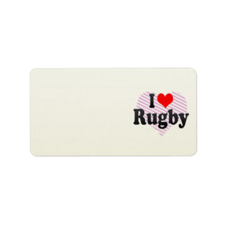 I love Rugby Personalized Address Label