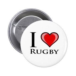 I Love Rugby Pinback Button