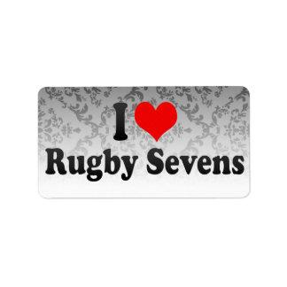 I love Rugby Sevens Address Label