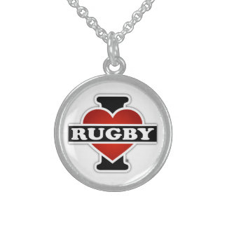 I Love Rugby Sterling Silver Necklace