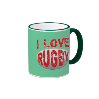I Love Rugby Tshirts, Apparel and Products Ringer Coffee Mug