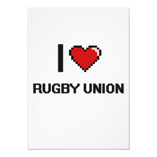I Love Rugby Union Digital Retro Design 5x7 Paper Invitation Card