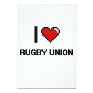 I Love Rugby Union Digital Retro Design 3.5x5 Paper Invitation Card