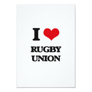 I Love Rugby Union 3.5x5 Paper Invitation Card