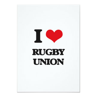 I Love Rugby Union 5x7 Paper Invitation Card