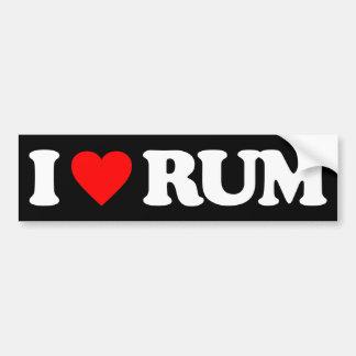 I LOVE RUM BUMPER STICKER