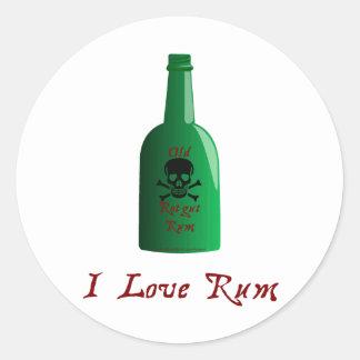 I love Rum Classic Round Sticker