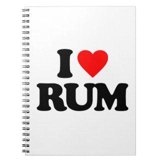I LOVE RUM SPIRAL NOTEBOOKS